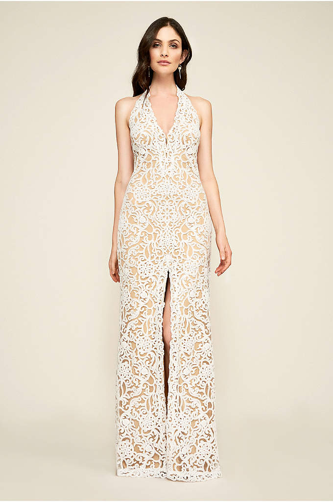 Elanor Sequin Embroidered Halter Wedding Dress - Adorned in shimmering sequin embroidery, this sumptuous sheath