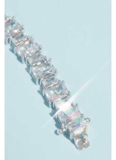 Elegant Cubic Zirconia Tennis Bracelet - This timeless tennis bracelet features alternating-sized clear cubic