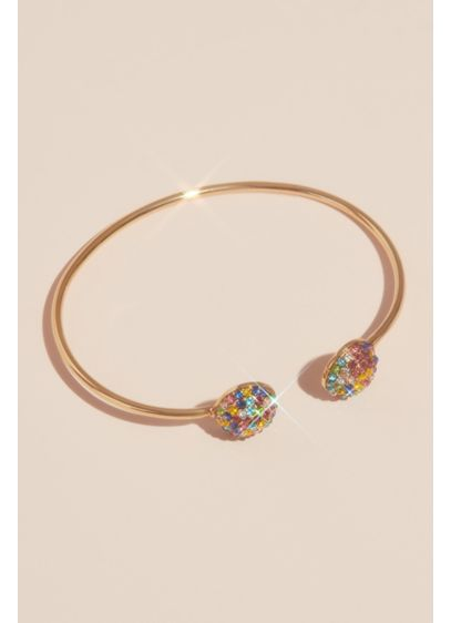 Nina Multi (Rainbow Pave Crystal Button Cuff Bracelet)
