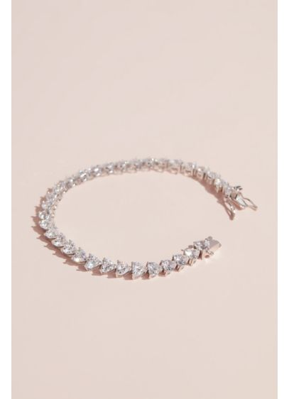 Cubic Zirconia Heart Tennis Bracelet - Wedding Accessories