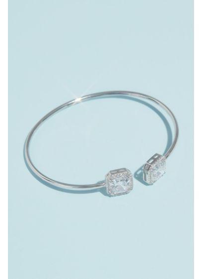 Haloed Asscher-Cut Cubic Zirconia Cuff Bracelet - Two haloed asscher-cut cubic zirconia cap this slender