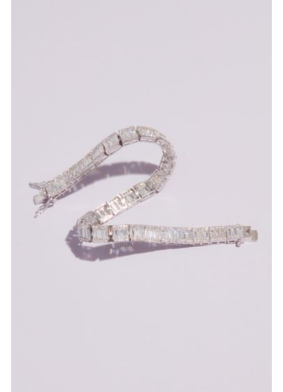 Cubic Zirconia Edged Baguette Tennis Bracelet - Why not amp up the tennis bracelet's traditional