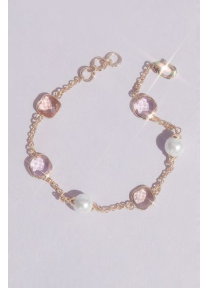 Crystal and Pearl Chain Bracelet - Wedding Accessories