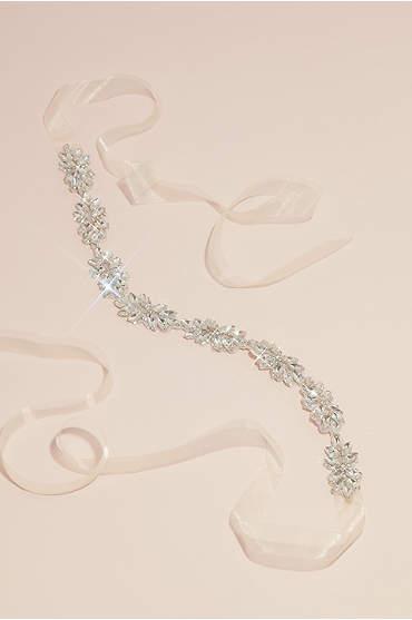 Crystal-Adorned Gleaming Floral Sash