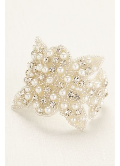 Pearl and Crystal Embellished Fabric Bracelet - Wedding Accessories