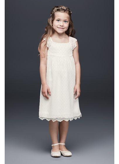 e94c66e42bf Swiss Dot Flower Girl Dress with Crochet Trim