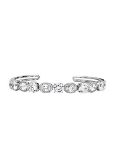 Nadri Grey (Sterling Silver Cubic Zirconia Halo Cuff Bracelet)