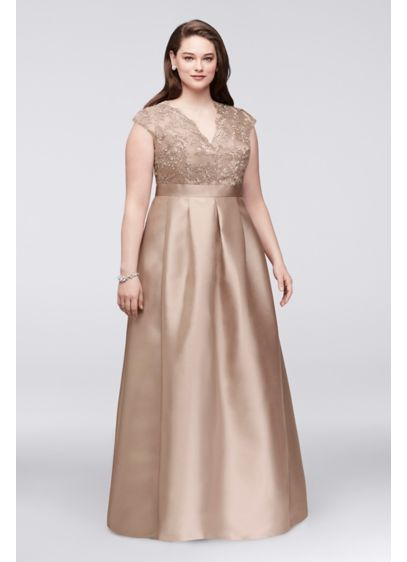 9186b97392c ... V-Neck Plus Size Gown. B3709781. Long Ballgown Cap Sleeves Cocktail and  Party Dress - Chetta B