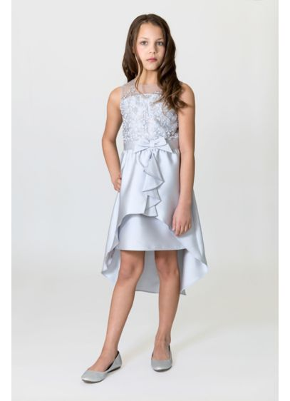 Embroidered Lace Mikado High-Low Flower Girl Dress - Topped with an embroidered lace bodice and finished