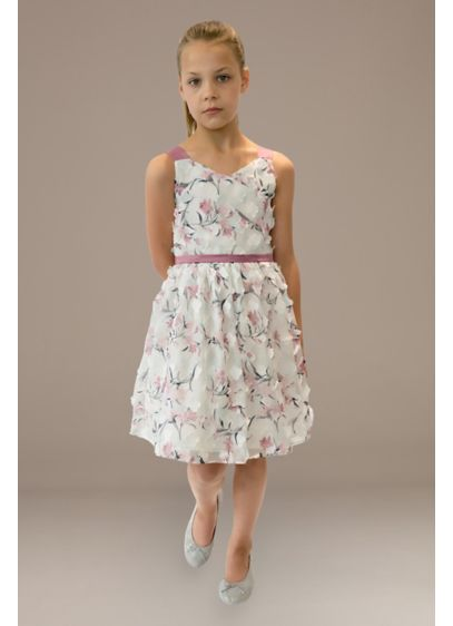 Chiffon Flower Girl Dress with Petal Appliques - This floral-printed sleeveless flower girl dress is adorned