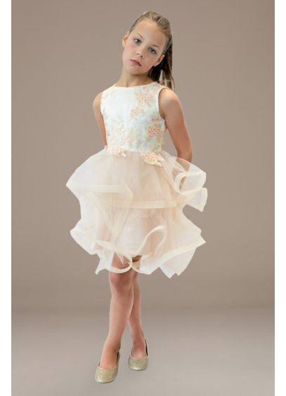 US Angels Ivory (Layered Tulle Horsehair Trim Flower Girl Dress)