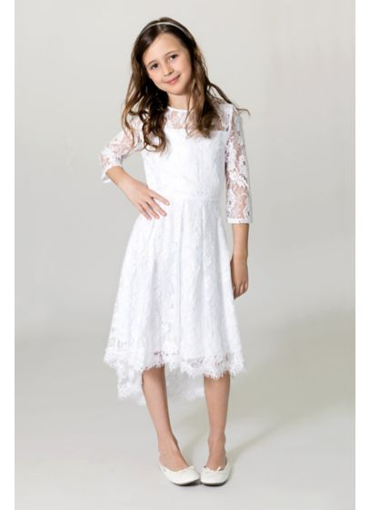 3/4 Sleeve Lace Illusion Neck Flower Girl Dress - Perfect for the boho flower girl, this airy
