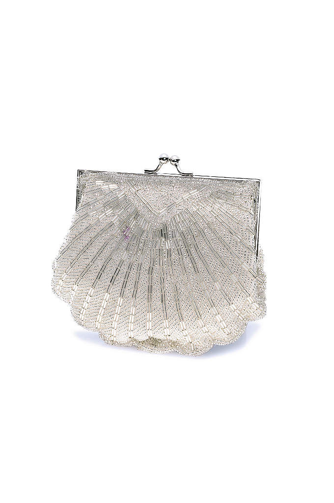 Beaded Shell Clutch with Chain