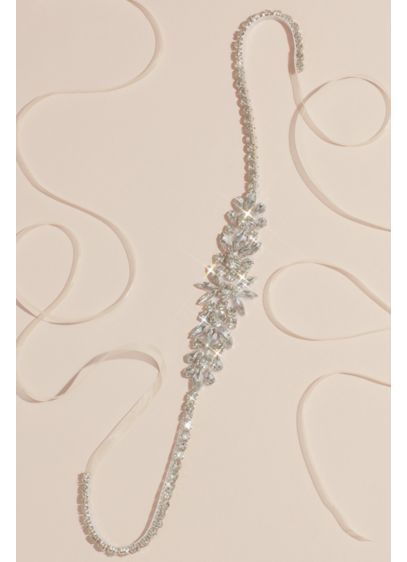 Clustered Marquis and Teardrop Crystal Burst Sash - Marquise and teardrop-cut crystals burst from the center