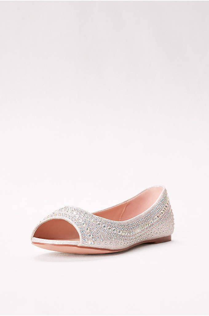 Embellished Peep Toe Flats - Chic, simplified. This stunning flat with dainty peep