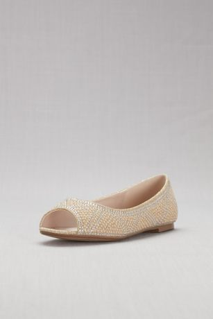Studded Pearl and Crystal Peep-Toe Flats | David's Bridal | Tuggl