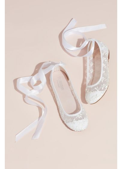 Embroidered Lace-Up Floral Illusion Ballet Flats - Channel your inner prima ballerina in these elegant