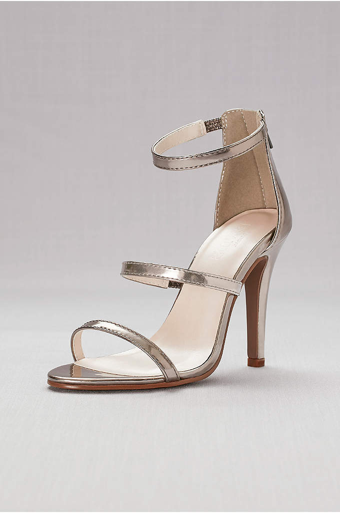 Triple-Strap Metallic Stiletto Sandals - Nothing looks more glam with a gown than