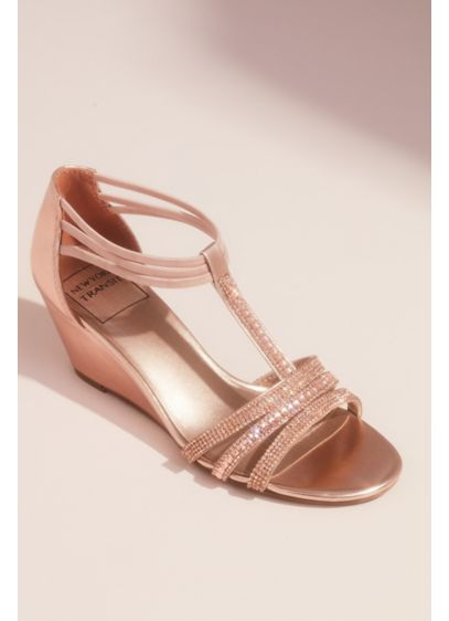 Metallic Wedge T-Strap Sandals with Tonal Crystals - These metallic wedge sandals are covered with circle