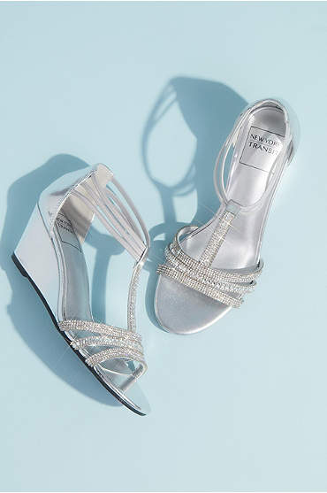 Metallic Wedge T-Strap Sandals with Tonal Crystals