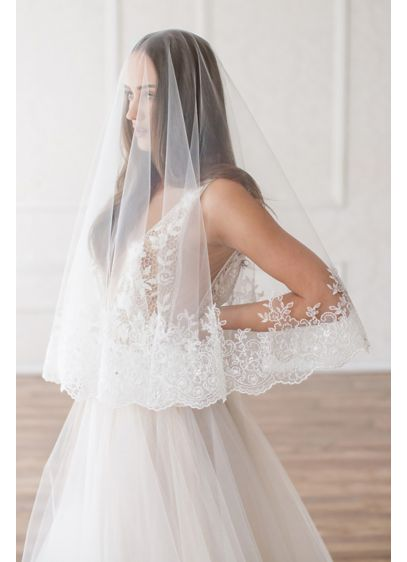 Lace Applique Circle-Cut Blusher Veil - Crafted of English tulle and trimmed in Venice
