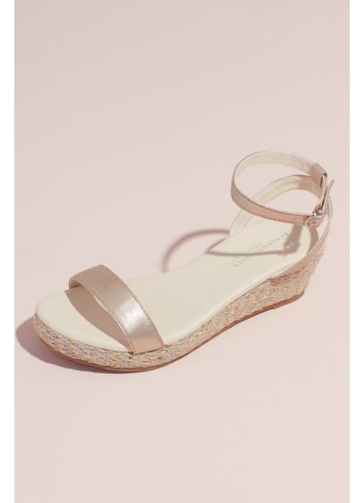 Metallic Strap Espadrille Wedge Sandals - Perfect for beach weddings or any outdoor event,
