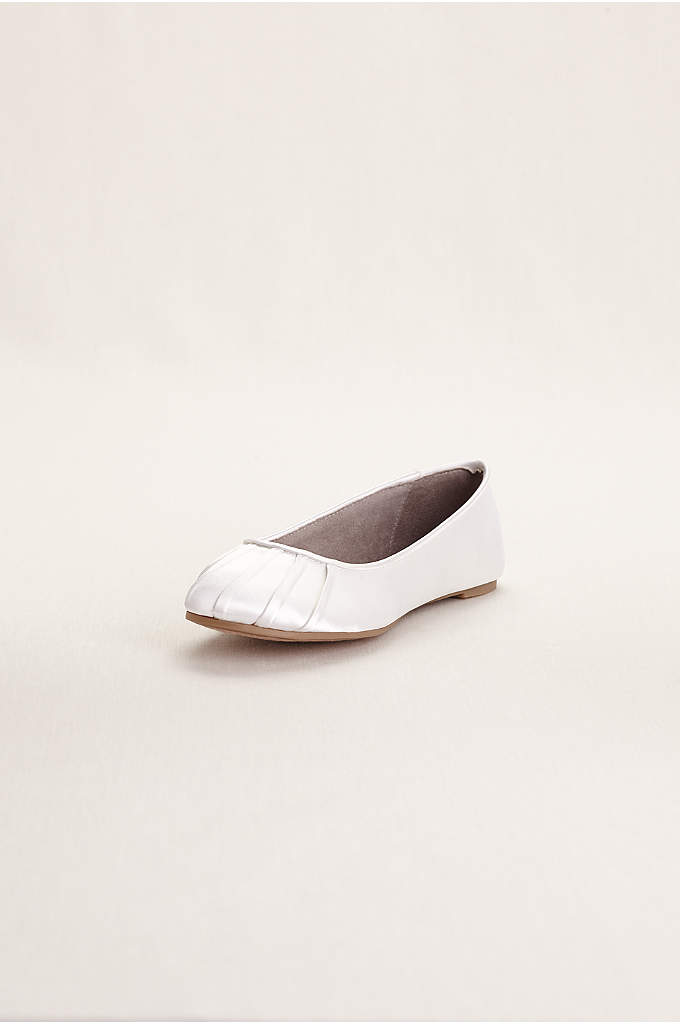 Dyeable Satin Pleated Toe Ballet Flat - Dyeable pleated toe ballet flats are elegantly simple
