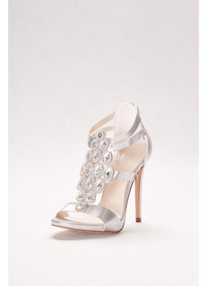 David's Bridal Grey (Crystal-Embellished Strappy Heels)