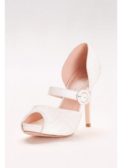Blossom White (Pearl-Embellished Mary Jane Peep-Toe Heels)