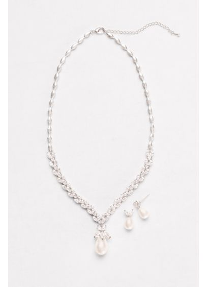David's Bridal Grey (Pearl and Cubic Zirconia Necklace and Earring Set)
