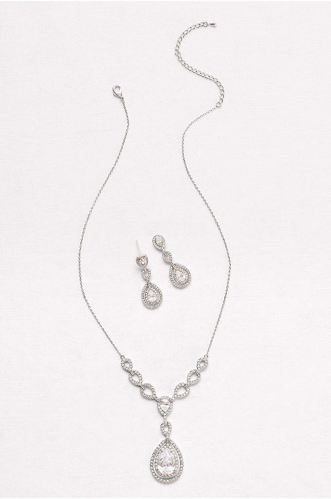 Layered Cubic Zirconia Necklace and Earring Set - A modern take on the necklace and earrings