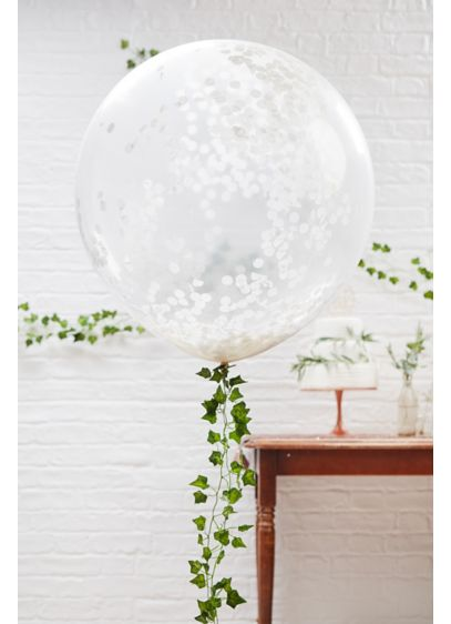 Large White Confetti Balloon Set - Filled with tissue paper confetti, these large balloons