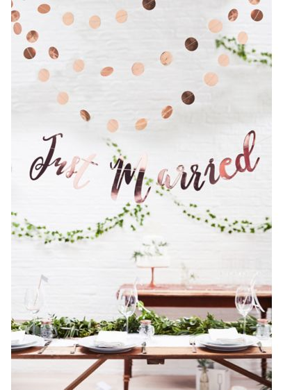Just Married Scripted Rose Gold Banner - Add a bit of pretty to any wedding