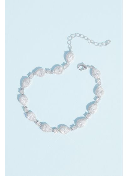 David's Bridal Grey (Haloed Teardrop and Solitaire Crystal Bracelet)