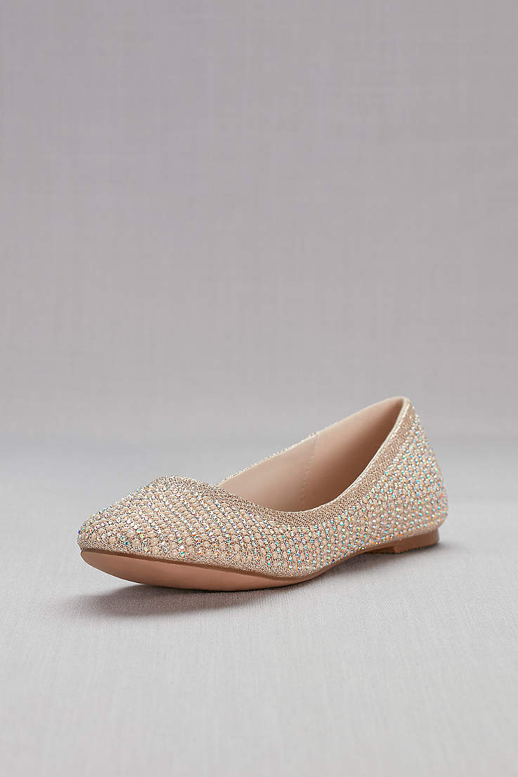 873389371e David's Bridal Beige;White Ballet Flats (Crystal and Pearl Ballet Flats)