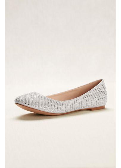 David's Bridal White (Crystal and Pearl Ballet Flats)