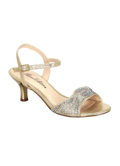 Blossom Beige (Low Heel Quarter Strap Sandal with AB Crystals)