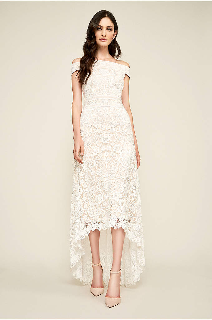 Mimi Lace Off-the-Shoulder Wedding Dress - Topped with an off-the-shoulder neckline and finished with
