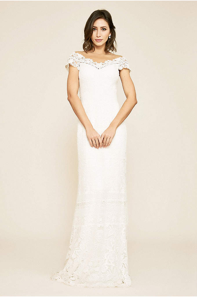 Joelle Mixed Lace Cap Sleeve Sheath Wedding Dress