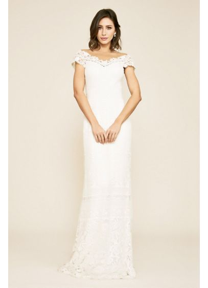 Joelle Mixed Lace Cap Sleeve Sheath Wedding Dress - Mixed, tactile lace patterns adorn this stunning wedding