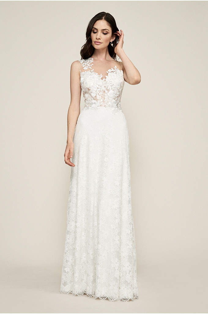 Diandra Illusion Wedding Dress - Artfully placed rose appliques cascade down the front