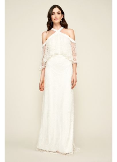 Dot Flounced Lace Wedding Dress - A sheer flounce gives this off-the-shoulder sheath dress