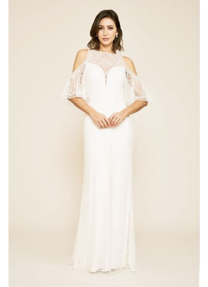 Luz Embroidered Cold Shoulder Sheath Wedding Dress - Featuring an intricate embroidered dot motif, this wedding