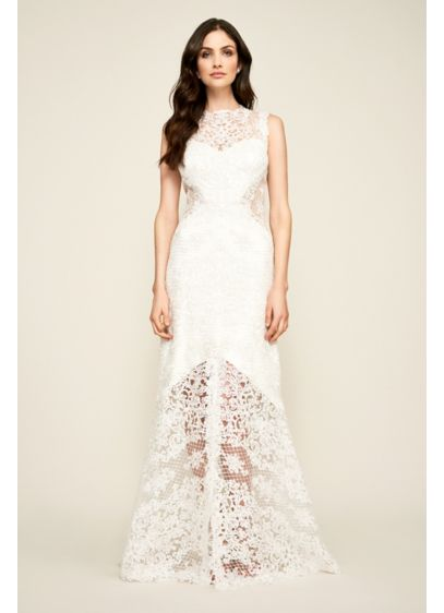 Corded Lace Tank Wedding Dress with Sheer Details - This fresh and modern corded lace wedding dress