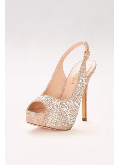 Blossom Beige (Geometric Crystal Slingback Platform Heels)