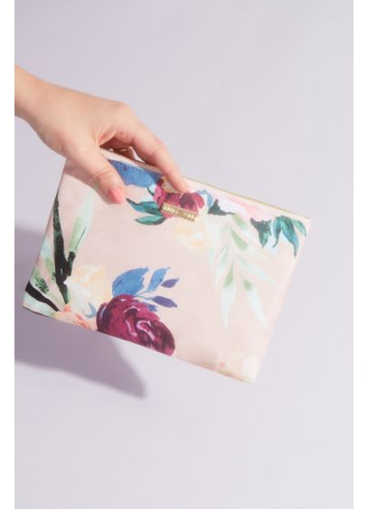 Cotton Canvas and Satin Floral Pouch - Stash your makeup or keep essentials close in