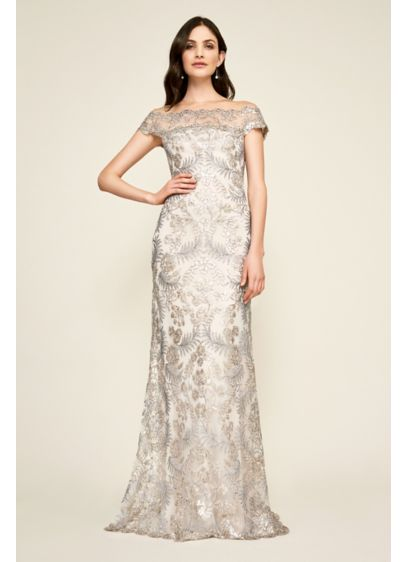 Sequin Embroidered Off The Shoulder Sheath Dress Davids Bridal