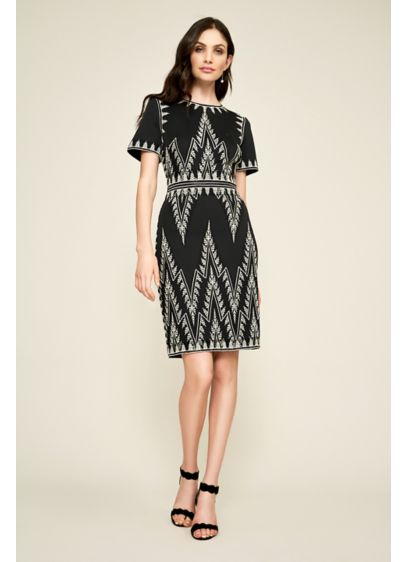 Niven Neoprene Dress - Geometric metallic embroidery and intricate seaming give this