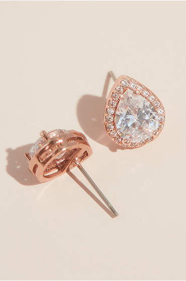 Pear-Shaped Cubic Zirconia Halo Studs