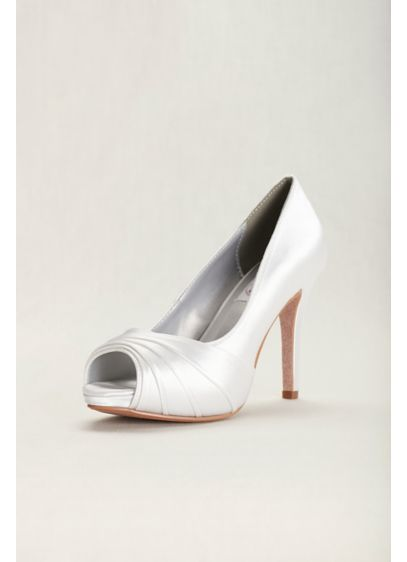 Dyeables White (Bea Satin Dyeable High Heel Peep-Toe Pump)